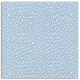 Coupon coton enduit bleu gouttes blanches LK20