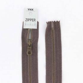 """Zipper métal """"coton délavé"""" marron - 20cm"""