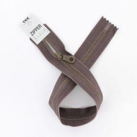"""Zipper métal """"coton délavé"""" marron - 40cm"""