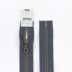 """Zipper métal """"coton délavé"""" gris foncé 20cm"""