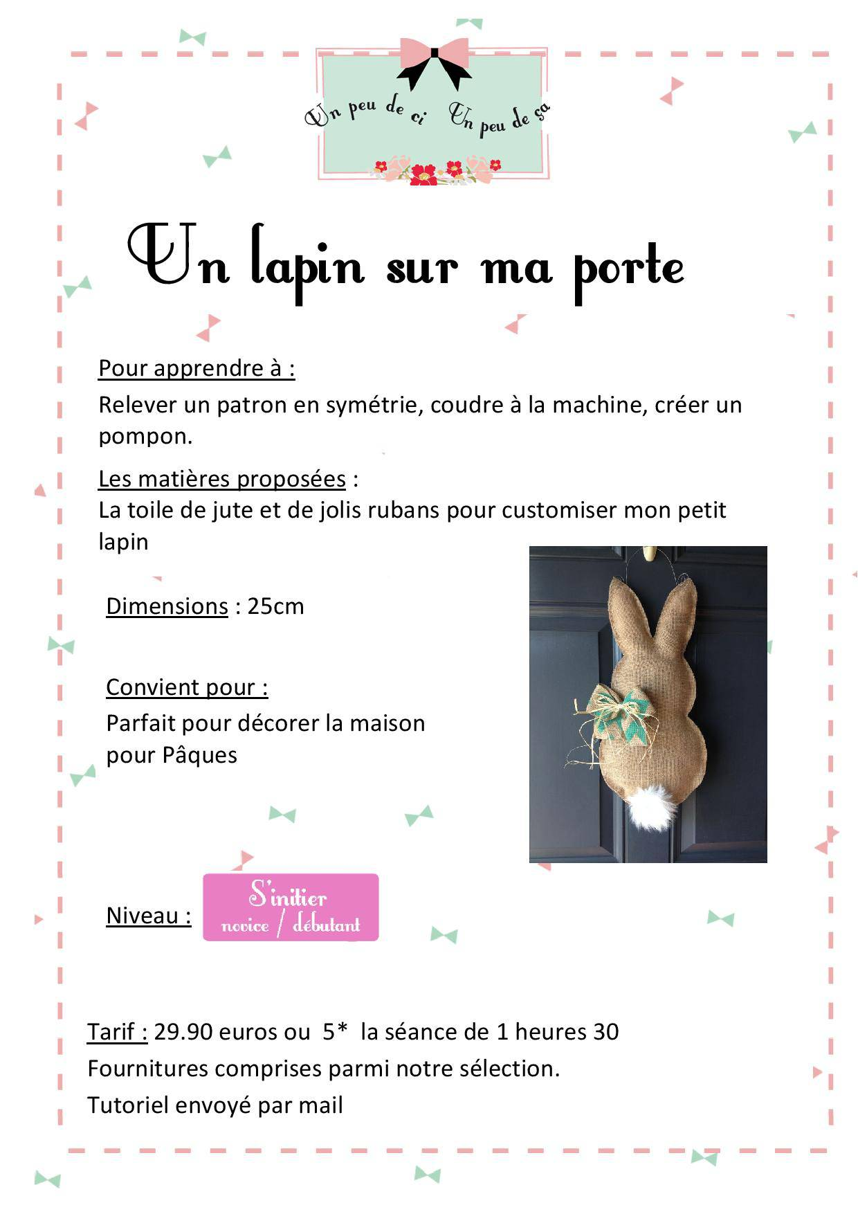 atelier couture lapin paques