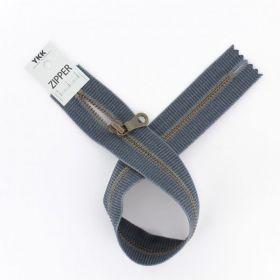"""Zipper métal """"coton délavé"""" gris foncé- 40cm"""