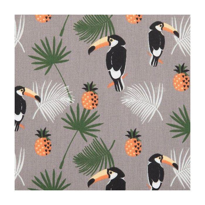Tissu toucan ananas fond gris