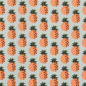Tissu ananas fond vert