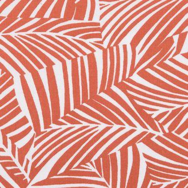 Tissu effet feuille rouille et blanc