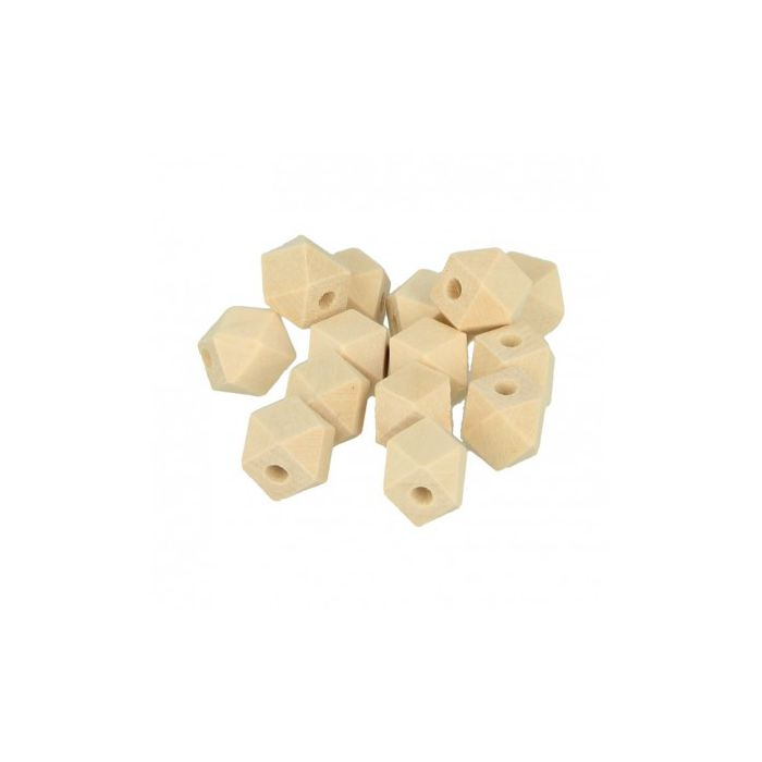 14 Perles en bois Polygone