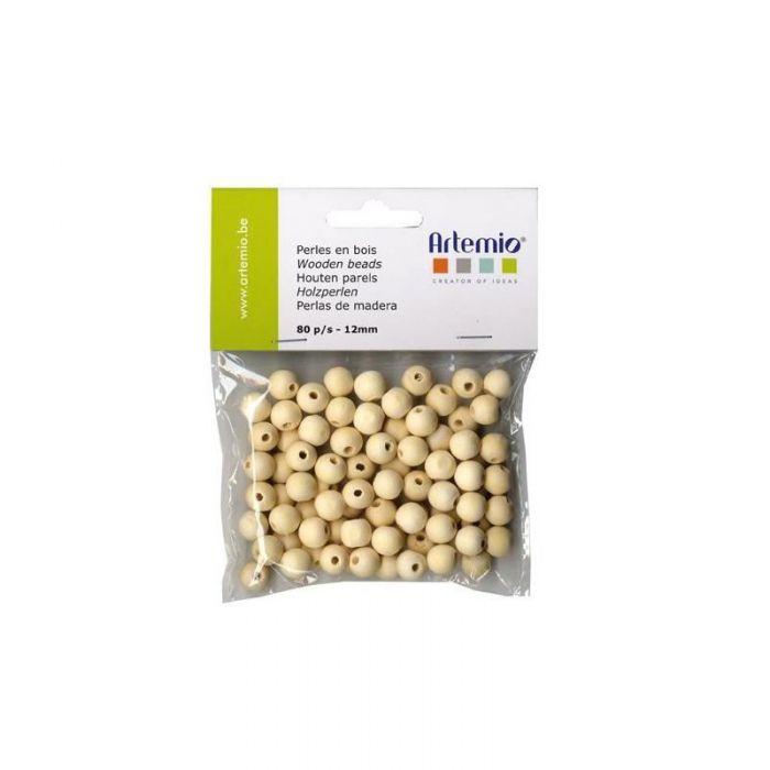 80 perles en bois rondes 12mm