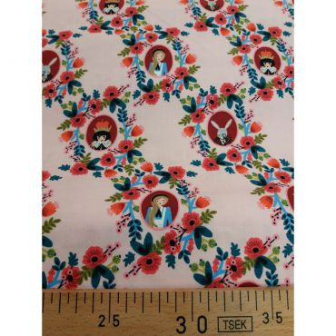 Tissu Alice personnages fond rose