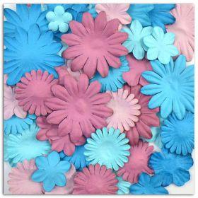 Fleurs décoratives bleue violette