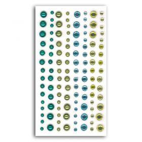 Assortiment strass et perles vert / bleu