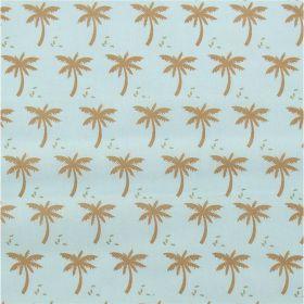 Tissu palmier fond bleu