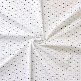Tissu étoiles or argent noir