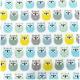 Tissu mini hiboux gris bleu