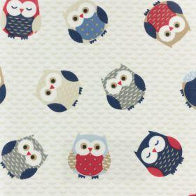 Coton enduit fryett's owls blue