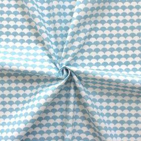 Tissu écailles bleu ciel et blanc