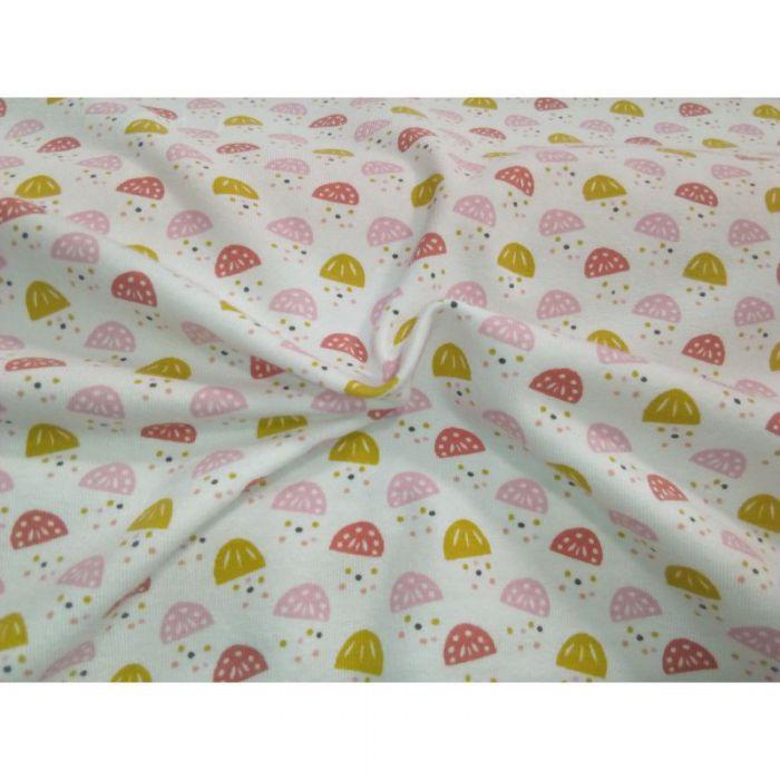 Tissu jersey Juna jaune / rose