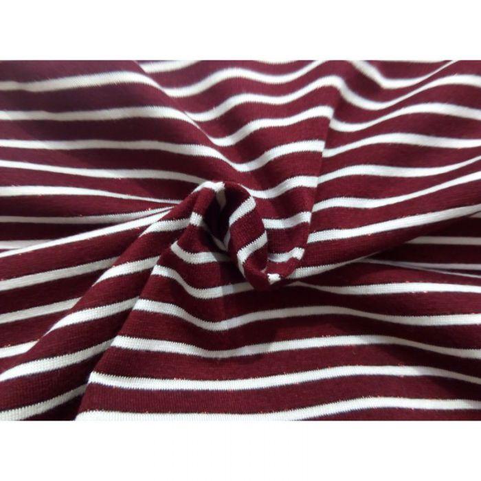 Tissu jersey raye rouge / beige pailletés