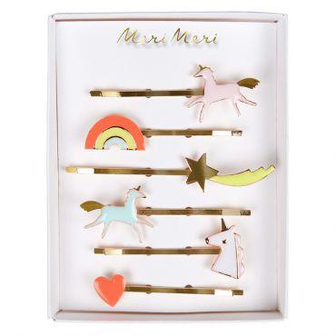 6 Barrettes licornes arc en ciel coeur