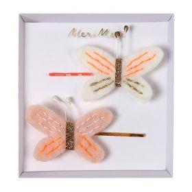 2 barrettes papillons
