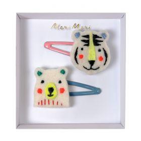 2 barrettes tigre et ours