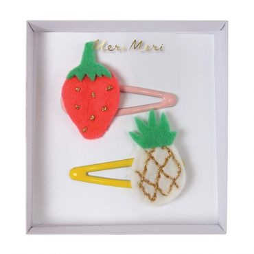 2 barrettes ananas et fraise