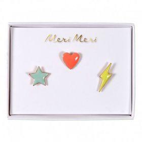 3 pin's émaillés étoile coeur éclair