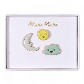 3 pin's émaillés soleil lune nuage