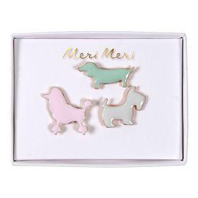 3 pin's émaillés chien