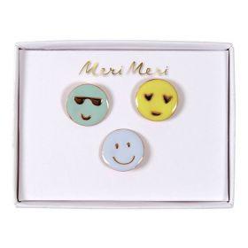 3 pin's émaillés emoji