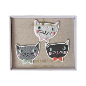 Broches brodées chat