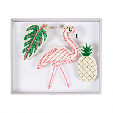 Broches brodées tropicales