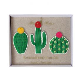 Broches brodées cactus