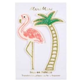 Ecussons thermocollants flamant rose palmier