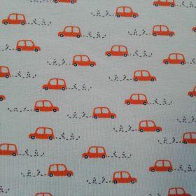 Tissu jersey voiture orange fond bleu