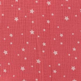 Tissu double gaze étoile corail
