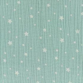 Tissu double gaze étoile menthe clair