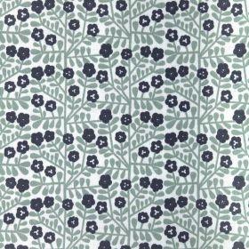Tissu coton enduit fleurs bleues