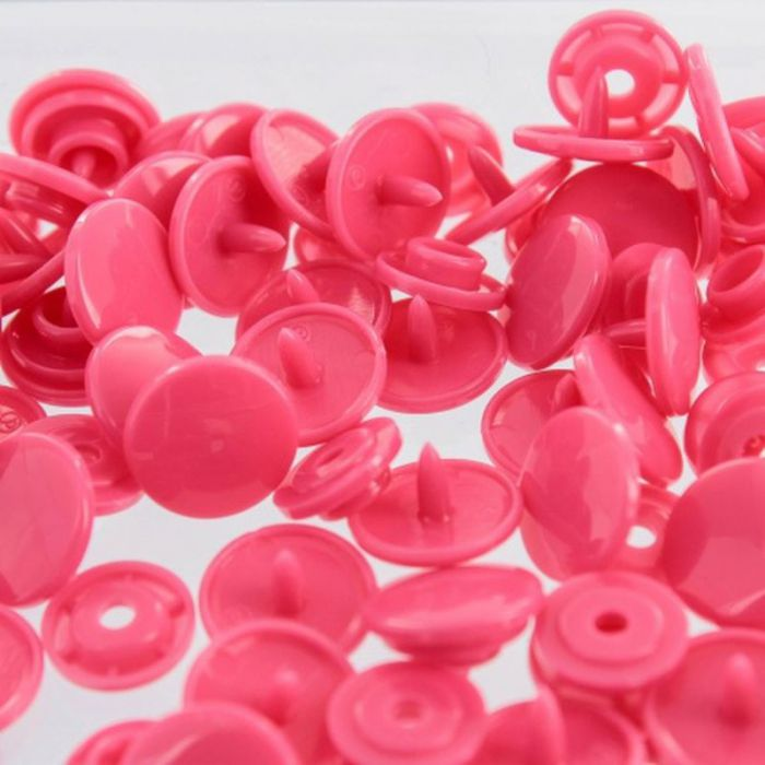 Boutons pressions rond fuschia