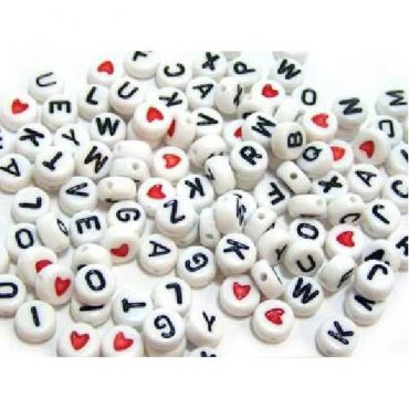 Perles alphabet blanches
