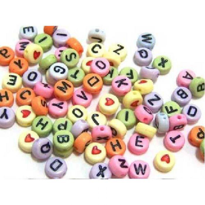 Perles alphabet multicolores