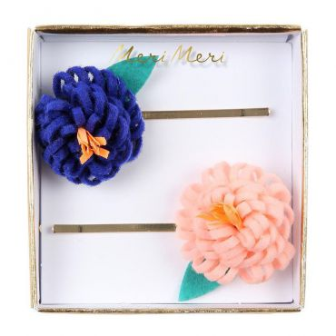 2 barrettes fleurs