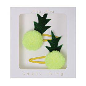 2 barrettes ananas pompons