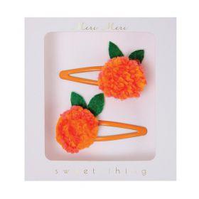2 Barrettes mandarine pompons