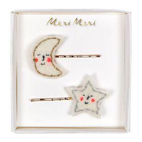 2 barrettes lune étoile