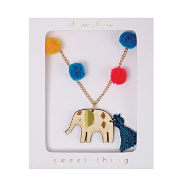 Collier pompoms éléphant