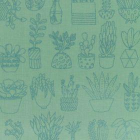 Toile menthe cactus metallise