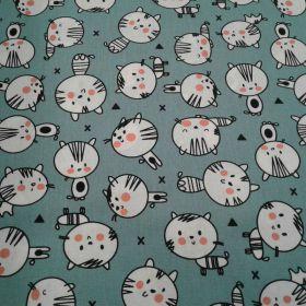Tissu coton vert chat blanc