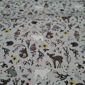 Tissu coton animaux fond gris