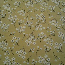 Jersey fond jaune fleur blanche