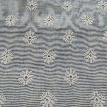 Tissu coton rayé avec broderie